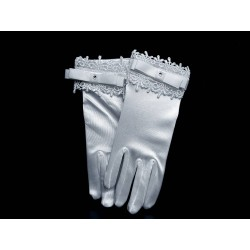 White Satin First Holy Communion Gloves Style CG789