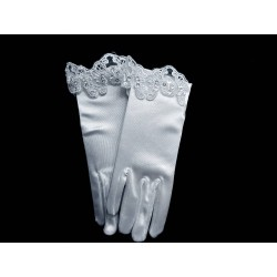 White Satin First Holy Communion Gloves Style CG790