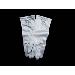 White Satin First Holy Communion Gloves Style 795