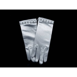 White Satin First Holy Communion Gloves Style 793
