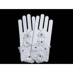 White Lace First Holy Communion Gloves Style 799