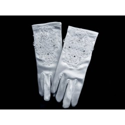 White Satin First Holy Communion Gloves Style 801