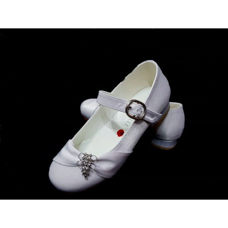 White Satin First Holy Communion Shoes Style R084