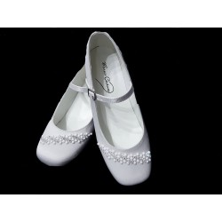 White Satin First Holy Communion Shoes Style MAISIE