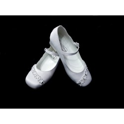 White Satin First Holy Communion Shoes Style CHARLOTTE