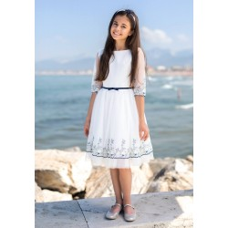 Elegant Ivory/Navy Confirmation Dress Style 30/SM/19