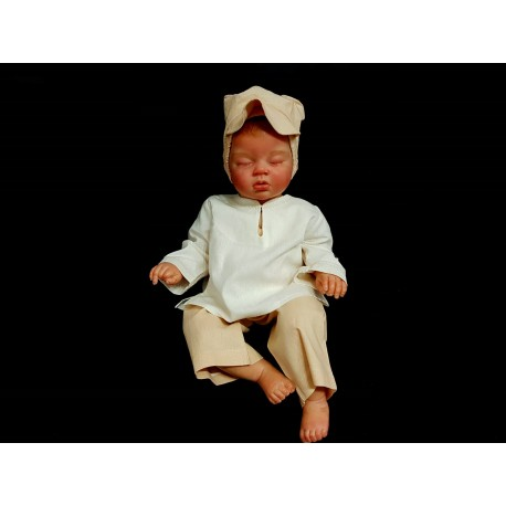 Unusual Natural Look Baby Boy Outfit in White and Beige styl Ralf