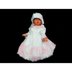 White/Pink Christening/Baptism Dress and Bonnet Style CASSIE