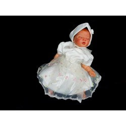 Lovely Ivory Satin Embroidered Christening/Special Occasion Dress Style CAMILA