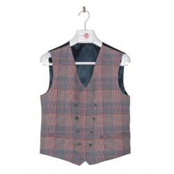 Navy/Red Checkered First Holy Communion/Special Occasion Waistcoat Style 10-10006