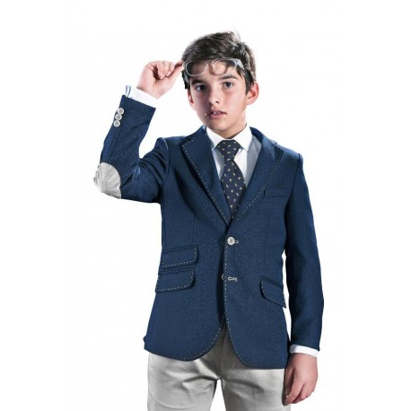 Navy/Grey First Holy Communion/Special Occasion Jacket with Grey Patches Style 10-04020