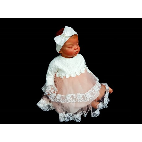 Ivory/Pink Christening/Special Occasion Dress & Headband Style 4067