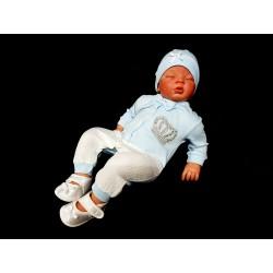 Ivory/Blue 3 Pcs Baby Boy Grow Set Style 05187