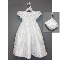 White Christening Baby Girl Gown & Bonnet Style CR135