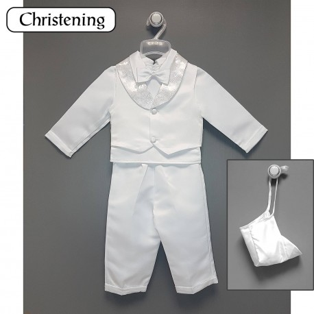 White Christening Baby Boy Suit Style CR1004