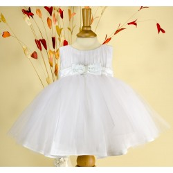 White Christening/Flower Girl/Special Occasions Tulle Baby Girl Dress with Sequinned Sash Cindy by Sevva