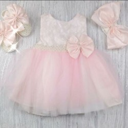 Pink/Ivory Christening/Special Occasion Baby Girl Dress, Shoes and Headband Style 05003
