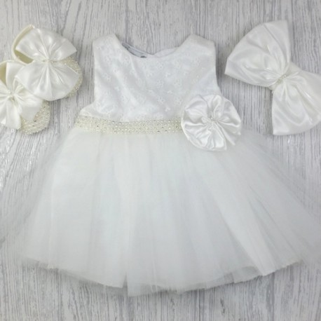 Ivory Christening/Baptism Dress, Headband & Shoes Style 05003