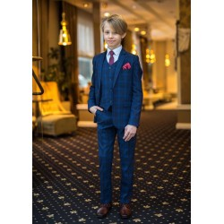 3 Piece Navy Checkered First Holy Communion Suit Style 30621