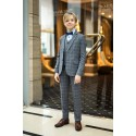 3 Piece Grey Checkered First Holy Communion Suit Style SANTOS