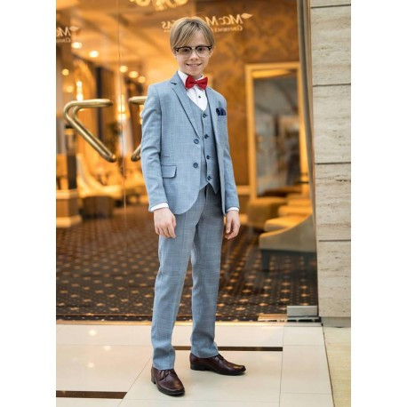 3 Piece Blue Checkered First Holy Communion Suit Style RUBENS