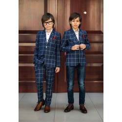Navy Checkered First Holy Communion/Special Occasion Jacket Style 17316