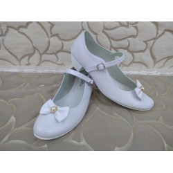 White Leather First Holy Communion Shoes Style 901