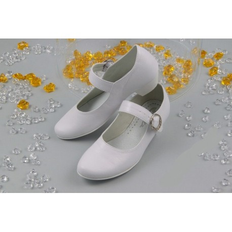 White Leather First Holy Communion Shoes Style 902