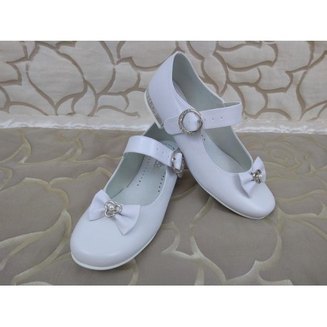 White Leather First Holy Communion Shoes Style 811