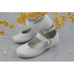 White Leather First Holy Communion Shoes Style 812