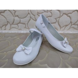 White Leather First Holy Communion Shoes Style 806