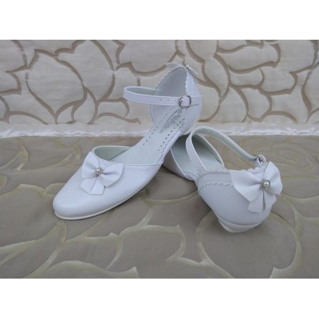 White Leather First Holy Communion Shoes Style 717