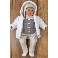 6 Pcs Christening Suit&Jacket Victor Beige