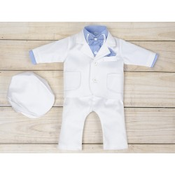 5 Pcs Christening Suit& Jacket Cesary White