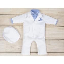 5 Pcs Christening Suit& Jacket Cesary White