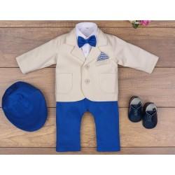 5 Pcs Christening Suit& Jacket Casper II Beige /Royal Blue