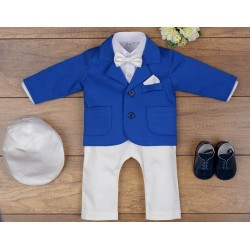 5 Pcs Christening Suit& Jacket Casper III Ivory /Royal Blue