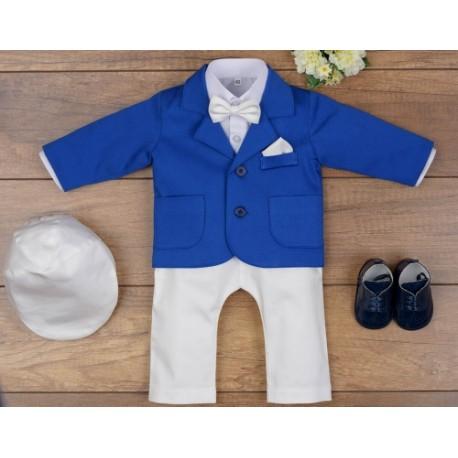5 Pcs Christening Suit& Jacket Casper III Ivory /Royal Blue