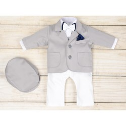 White/Gray 5 Pcs Christening Suit& Jacket Cesary Bis