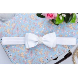 Handmade Christening Headband with Bow&Pearls Style 807