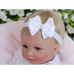 Handmade White Christening Headband with Bow&Pearls Style 629