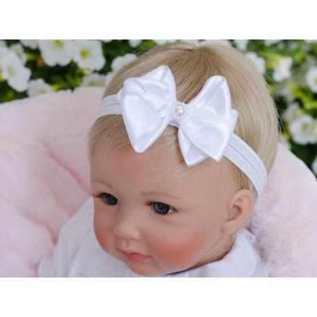 Handmade Christening Headband with Ivory Bow&Pearls Style 629