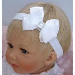 Handmade Christening Tulle/Satin Headband with Bow&Diamonds Style 415