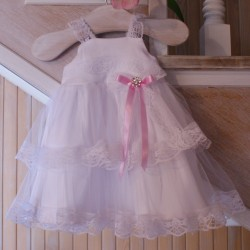 White/Pink Christening Dress Style ANTONINA