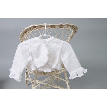 White Knitted Christening/Special Occasion Bolero Style PCH-6
