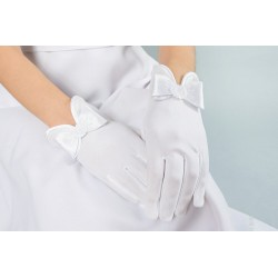 Lovely Mat Satin White First Holy Communion Gloves Style K-86