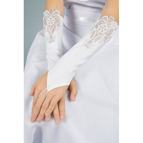 Long Mat Satin White First Holy Communion Gloves Style K-36