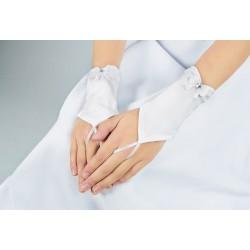 Lovely Mat Satin White First Holy Communion Gloves Style K-3