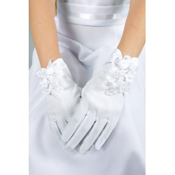 Beautiful White Handmade Mat Satin First Holy Communion Gloves Style K-24