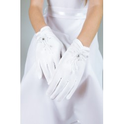 Mat Satin White First Holy Communion Gloves Style K-7